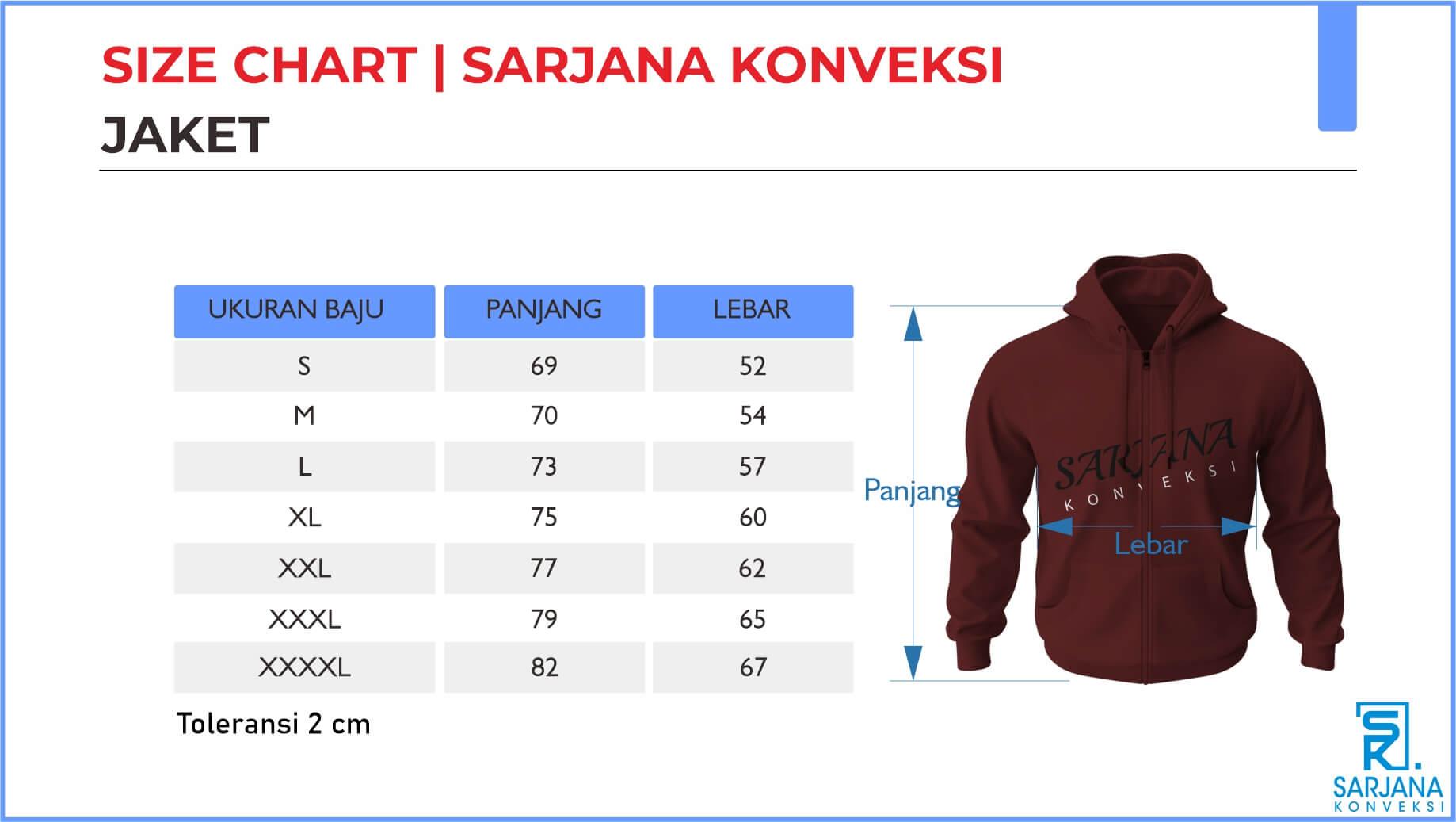 size chart ukuran jaket